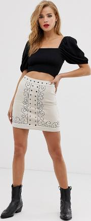 Embroidered A Line Mini Skirt