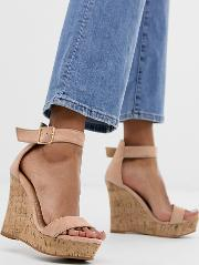 Exclusive Blush Wood Effect Wedge Sandals