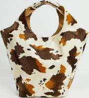 Exclusive Cow Print Oversized Shopper