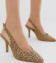 Exclusive Leopard Sling Back Heeled Shoes