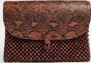 Exclusive Wooden Bead Snakeskin Clutch Bag