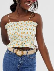 Exclusive Woven Waist And Hip Jeans Belt With Tortoiseshell Circle Buckle