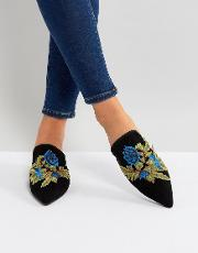 floral embroidered pointed mules