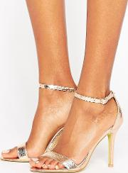 gold patent two part heeled sandals