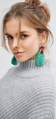 green jewelled tassel statement earrings