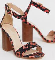 Leopard Print Square Toe Stacked Heeled Sandals
