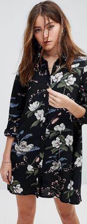 long sleeve shirt dress in blossom floral