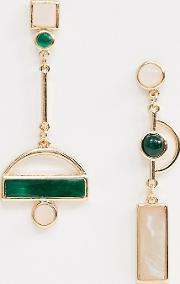 Mismatch Enamel Drop Earrings