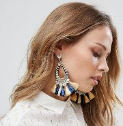 navy & yellow tassel statement earrings