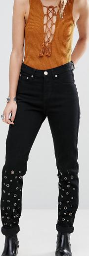 Distressed Mom Jean With Eyelet Detail