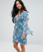 Long Sleeve Tea Dress In Illustrated Floral