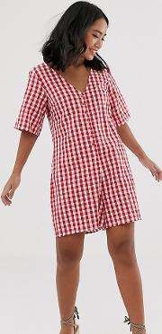 Relaxed Button Through Swing Playsuit Gingham