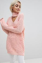 relaxed jumper with cut out high neck