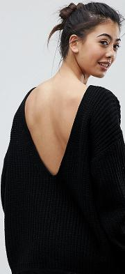 relaxed jumper with scoop back