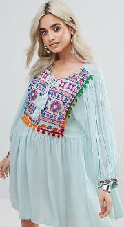 Smock Dress With Mirror Embroidery And Pom  Trim