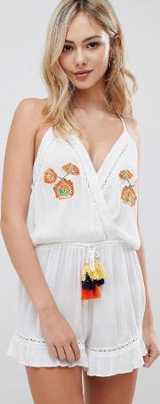 Playsuit With Floral Embroiderry