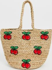 Rustic Straw Tote With Cherry Print