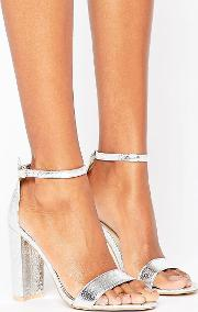 Silver Barely There Block Heeled Sandals