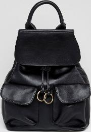 Simple Foldover Backpack With Ring Detail