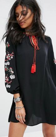 Smock Dress With Embroidered Arms
