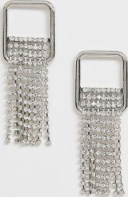 Square Rhinestone Drop Earrings