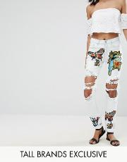 patchwork butterfly jean with rip detail