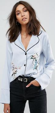 Pyjama Shirt With Contrast Piping And Floral Embroidery