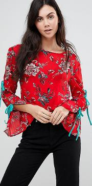 Top With Wide Ribbon Tie Sleeves