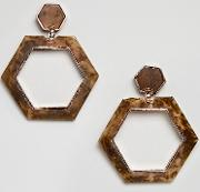 Tortoiseshell Hexagon Drop Earrings