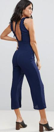 chiffon midi length jumpsuit with frill detail and back tie