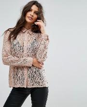 Hooked On You Rose Floral Lace Blouse