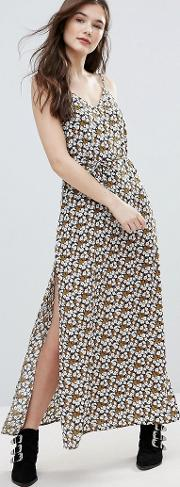 Long Island Cherry Blossom Printed Maxi Slip Dress With Side Splits  Waist Tie