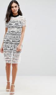 perspective empire lace dress with lining