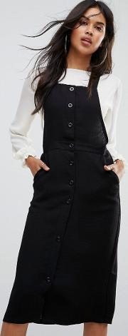 plateau over the knee pinafore dress with button up front