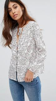 printed blouse with neck tie