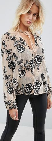 still the one embroidered rose sheer blouse with neck tie