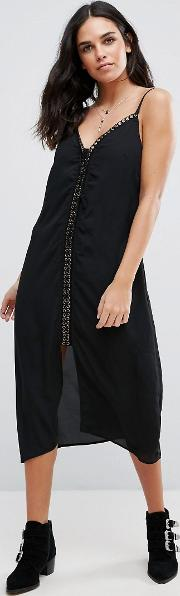 Trippin Chiffon Midi Length Slip Dress With Lace Up Front Detail