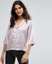 wild flower satin blouse with scalloped collar and  sleeves