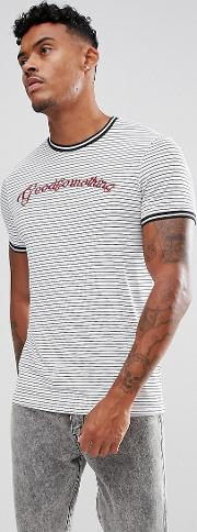 Muscle  Shirt With Stripes And Logo