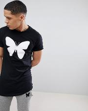 muscle t shirt in black with butterfly logo