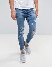 Super Skinny Jeans  Blue With Distressing