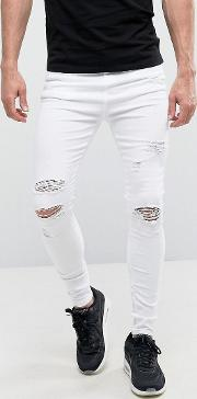 Super Skinny Jeans  White With Distressing