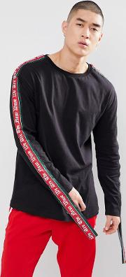 long sleeve t shirt with gothic taping  black