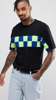 Shirt In Black With Checkerboard Panel