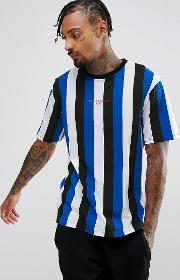 Shirt In Blue Stripe With Print