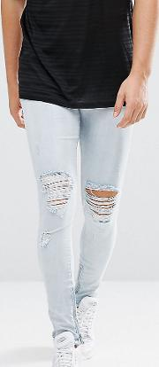 Skinny Jeans  Light Blue With Knee Rips And Zip Ankle
