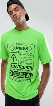 t shirt in green with danger print
