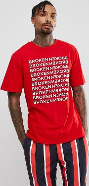 t shirt in red with broken repeat print