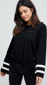 g star knit jumper with sleeve detail