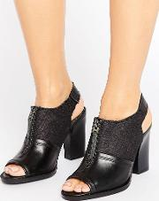 g star lynn black leather heeled sandals